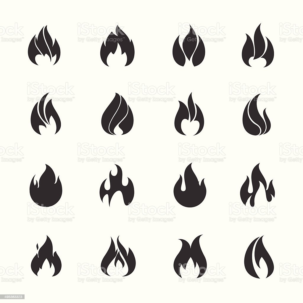 Fire black icons vector art illustration
