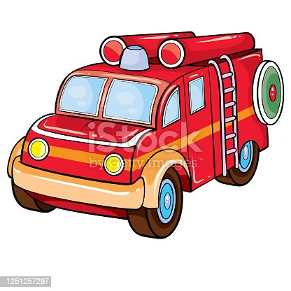 fire brigade car in red, retro style, cartoon illustration, isolated object on a white background, vector illustration, eps