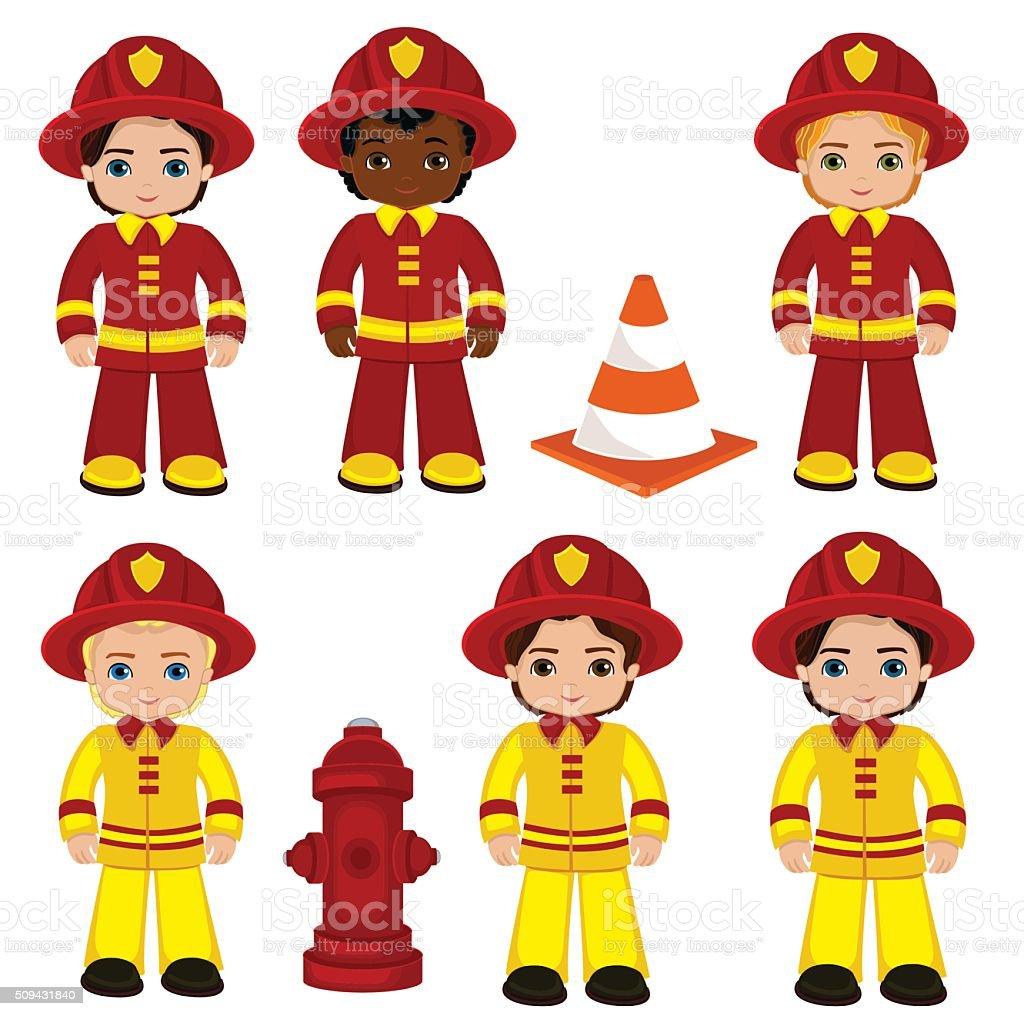 Download Anime Emergence: Fire Brigade Cute Boys Cartoon Vector Illustration Stock