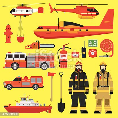 Firefighters, vehicles, equipment and fire brigade collection set