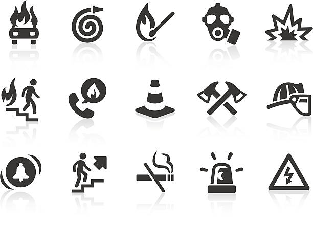 Fire Brigade icons Monochromatic fire brigade related vector icons for your design and application. Raw style. Files included: vector EPS, JPG, PNG. fire hose stock illustrations