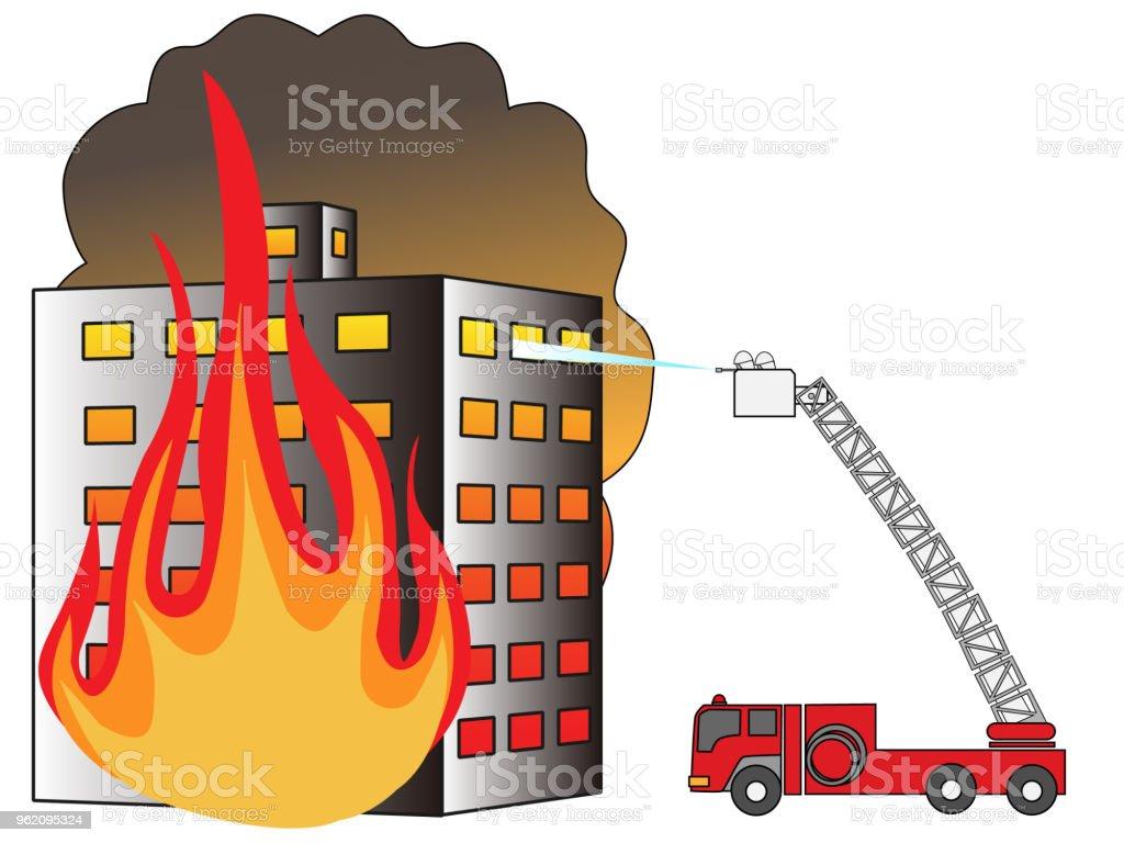 fire building vector art illustration