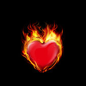 Vector illustration of Fire burning a heart on black background