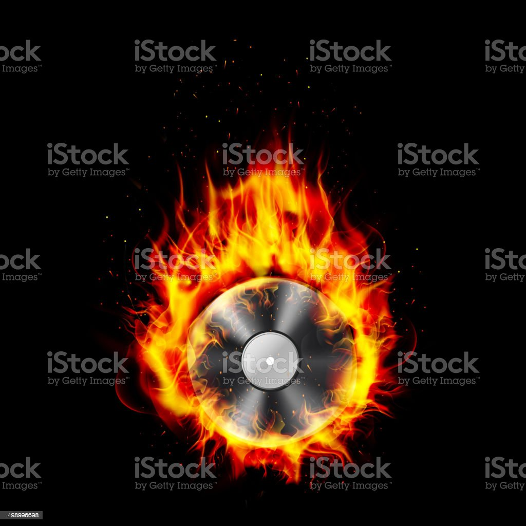 Fire burning CD black background vector art illustration