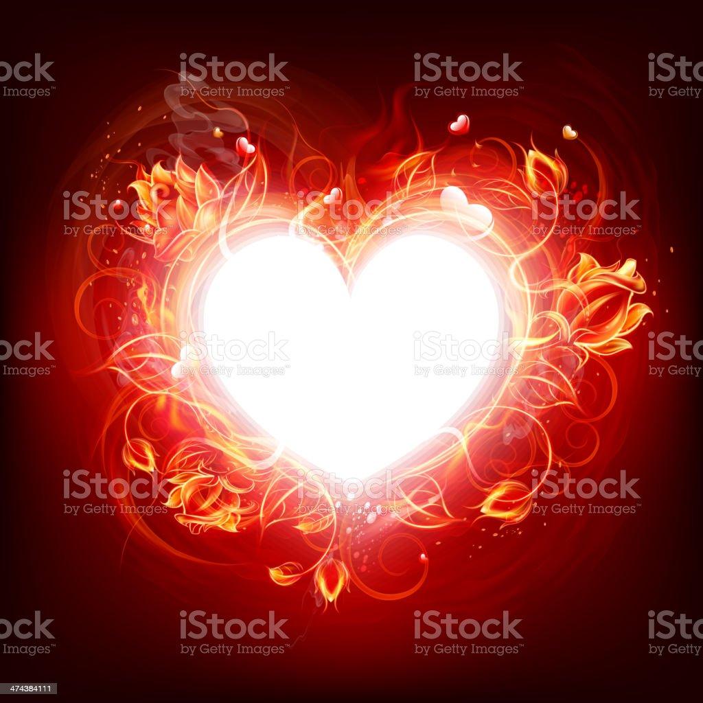 Fire burning heart vector art illustration