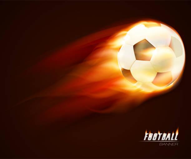 Fire burning Soccer ball on dark background vector art illustration