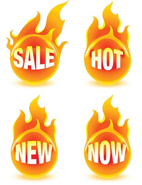 Fire buttons vector art illustration