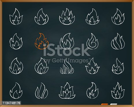 Fire chalk icons set. Outline web sign kit of bonfire. Flame linear icon collection fireball, ignite energy, explosion. Hand drawn by pastel crayon simple fire symbol on chalkboard vector Illustration