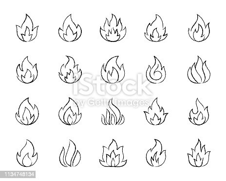 Fire charcoal icons set. Grunge outline web sign kit of bonfire. Flame linear icon collection includes danger, heat, flare. Hand drawn by pastel crayon simple fire symbol on white. Vector Illustration