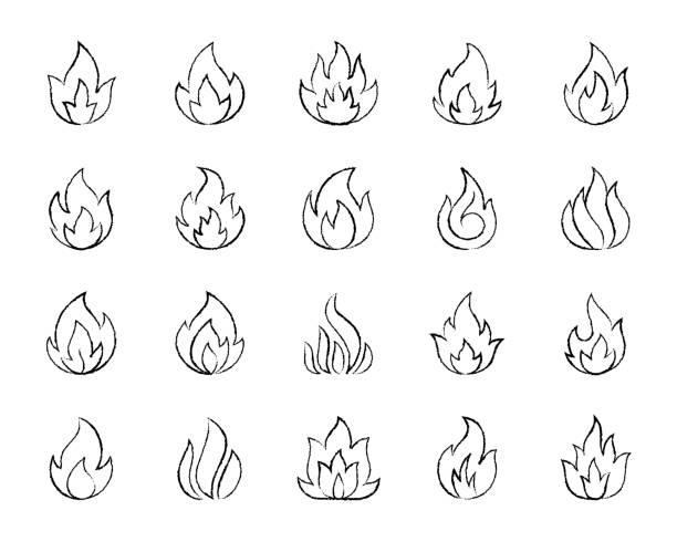 bildbanksillustrationer, clip art samt tecknat material och ikoner med brand kol rita linje ikoner vektor uppsättning - hand tänder ett ljus
