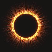 Vector Fire circle with fiery rays.