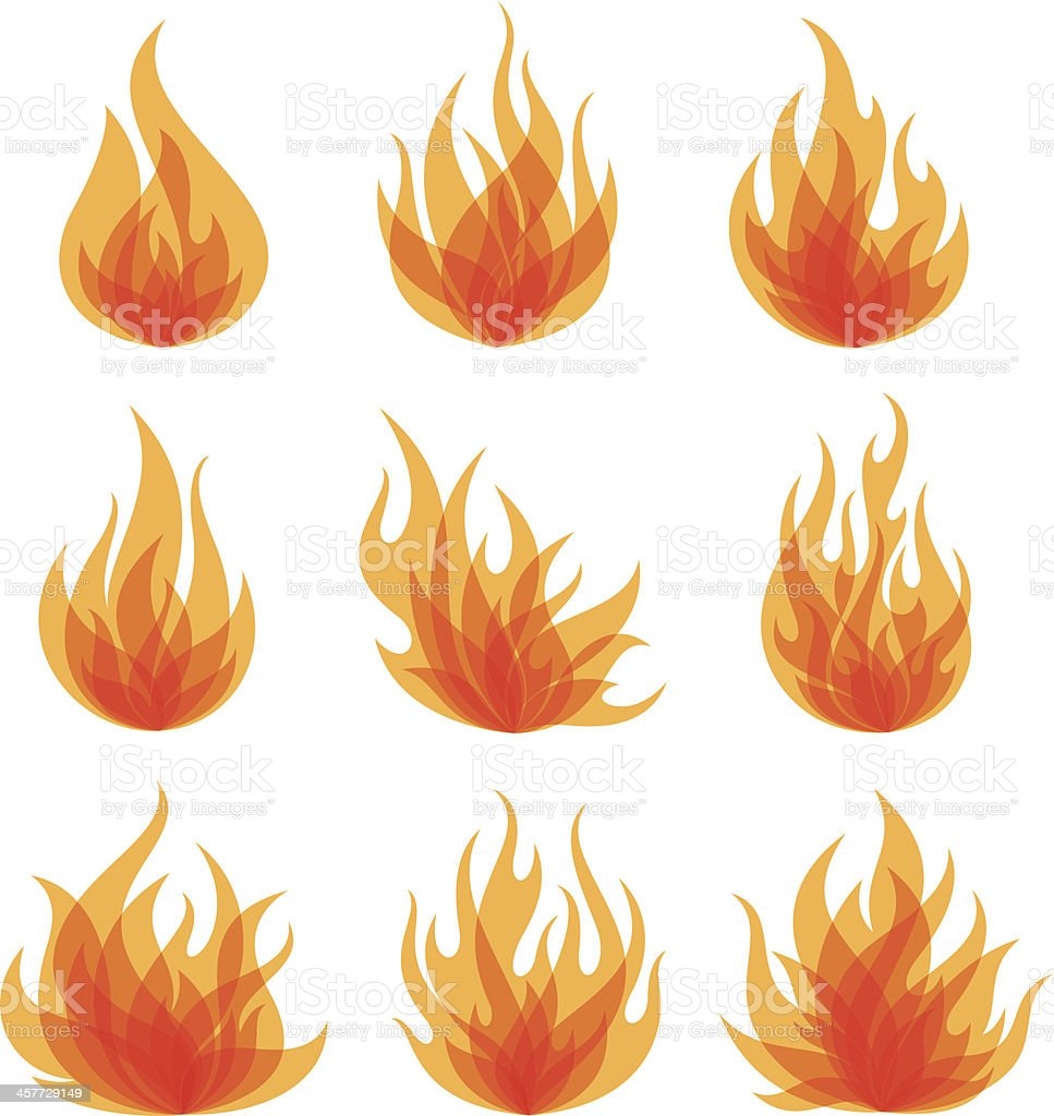 Fire collection vector art illustration