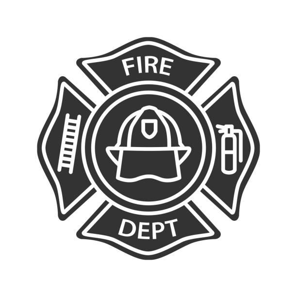 Icono de la insignia de bomberos - ilustración de arte vectorial