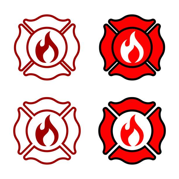 illustrations, cliparts, dessins animés et icônes de fire department badge logo template illustration design. vector eps 10. - pompier