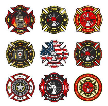 Fire department badges, firefighter team emblems