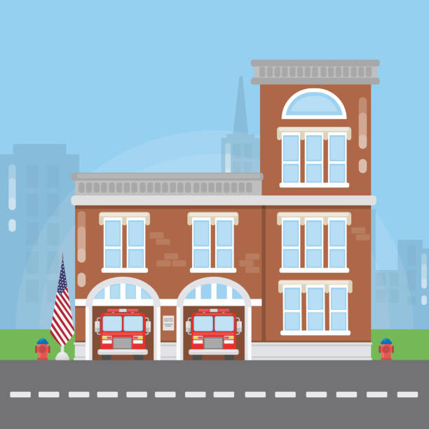 Fire department building. Fire department building. Fire station with fire trucks. fire station stock illustrations