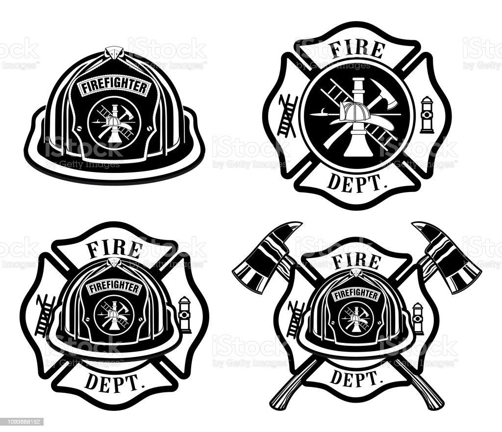 Bombeiros Cruz e desenhos de capacete - ilustração de arte em vetor