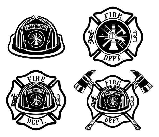 ilustraciones, imágenes clip art, dibujos animados e iconos de stock de departamento de bomberos cruz y diseños del casco - bombero