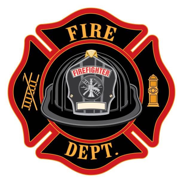 ilustraciones, imágenes clip art, dibujos animados e iconos de stock de departamento de bomberos cross black casco - bombero