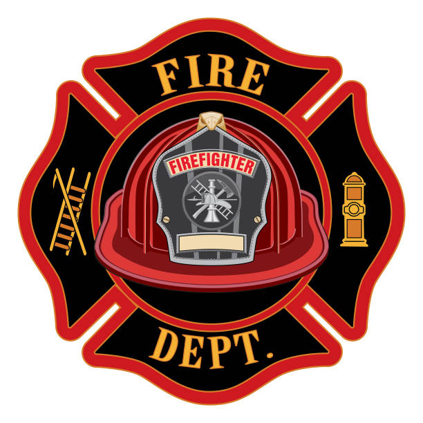ilustraciones, imágenes clip art, dibujos animados e iconos de stock de departamento de bomberos cross red casco - bombero