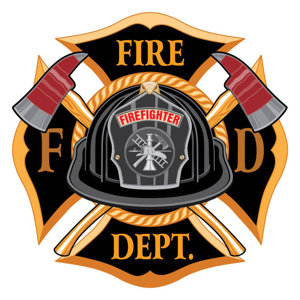 Fire Department Cross Vintage with Black Helmet and Axes Fire Department Cross Vintage with Black Helmet and Axes is an illustration of a vintage fireman or firefighter Maltese cross emblem with a black volunteer firefighter helmet with badge and crossed axes. Great for t-shirts, flyers, and web sites. maltese cross stock illustrations