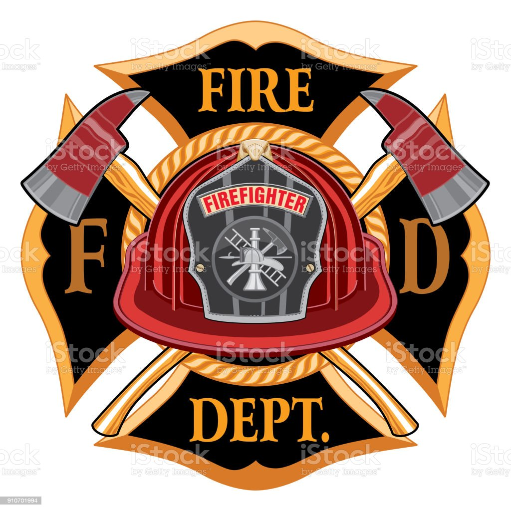 Fire Department Cross Vintage with Red Helmet and Axes vector art illustration