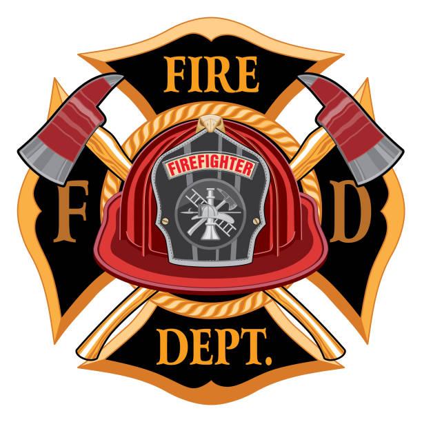 ilustraciones, imágenes clip art, dibujos animados e iconos de stock de departamento de bomberos cruz vintage con casco rojo y ejes - bombero
