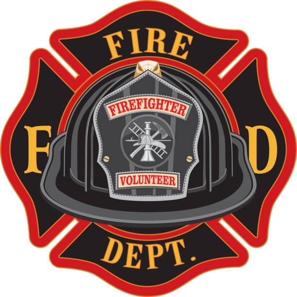 ilustraciones, imágenes clip art, dibujos animados e iconos de stock de cruz de bomberos voluntarios casco negro - bombero
