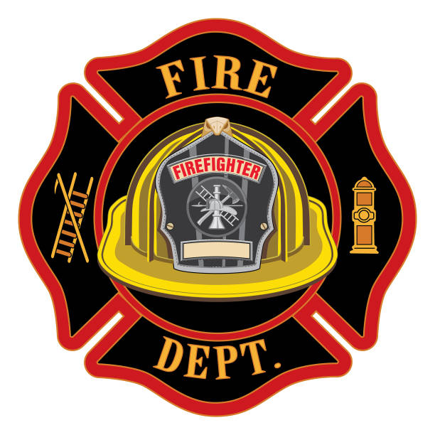 Fire Department Cross Yellow Helmet Fire Department Cross Yellow Helmet is an illustration of a fireman or firefighter Maltese cross emblem with a yellow firefighter helmet and badge containing an empty space for your text in the foreground. Great for t-shirts, flyers, and web sites. fire station stock illustrations