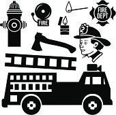 Vector fire department design elements.