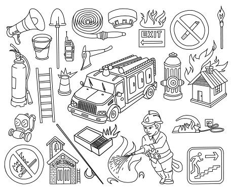 Fire Department Doodles Set
