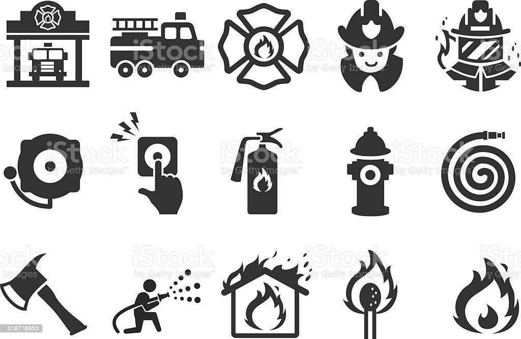 Fire Department icons - Illustration vector art illustration