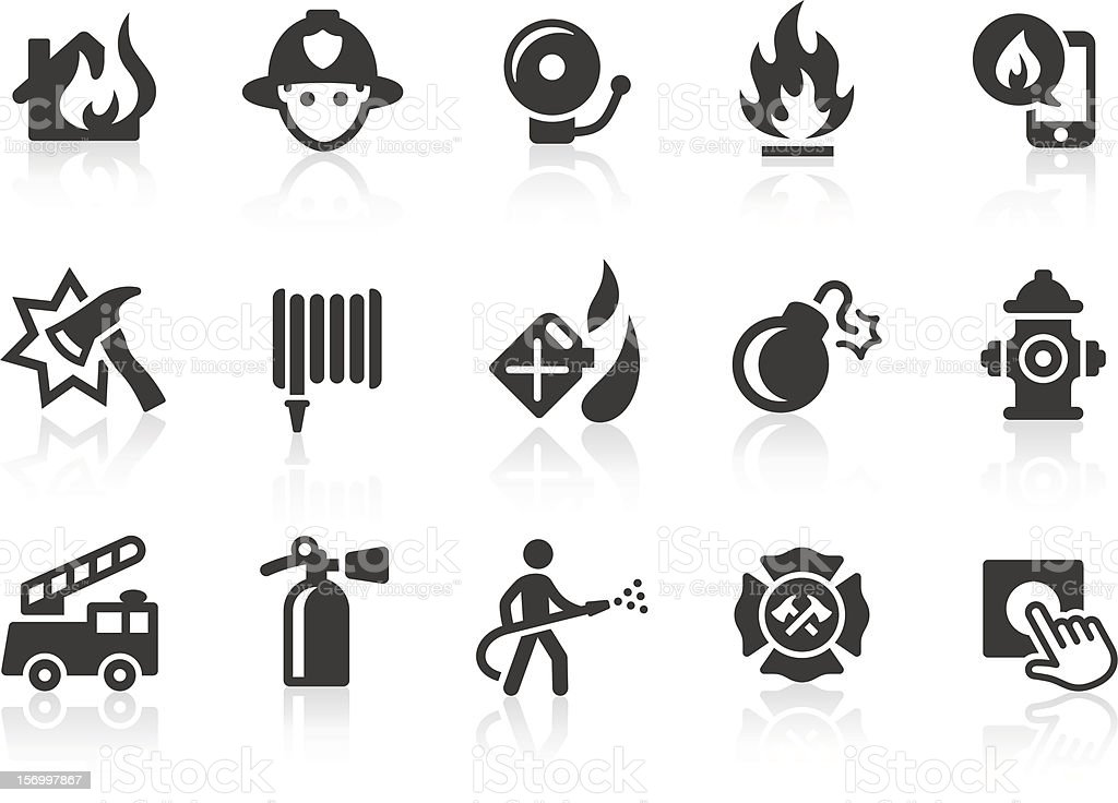 Fire Department icons vector art illustration