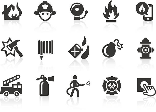 Fire Department icons Monochromatic fire department related vector icons for your design and application. Raw style. Files included: vector EPS, JPG, PNG. fire hose stock illustrations