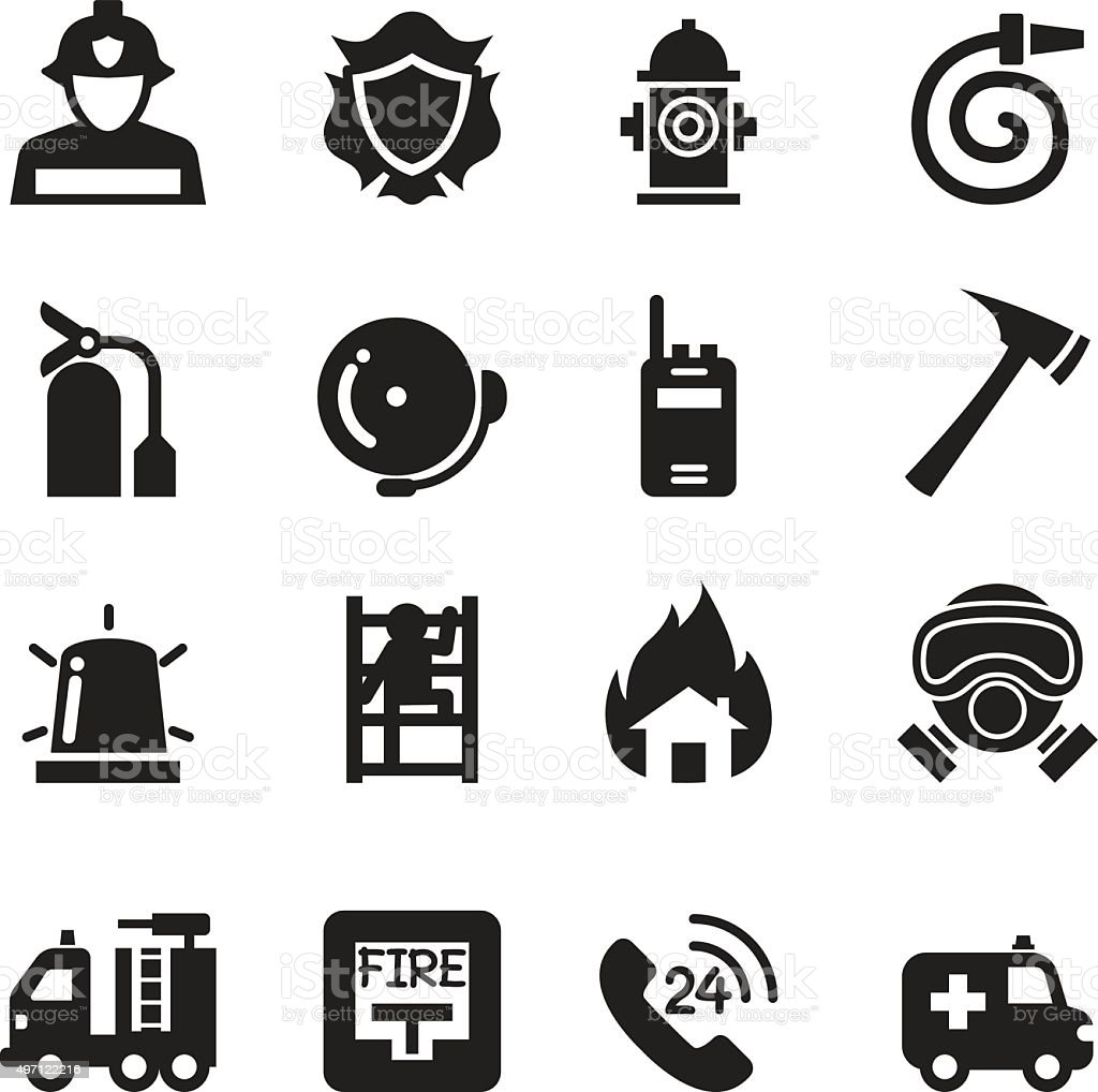 Fire Department icons  Vector Illustration vector art illustration