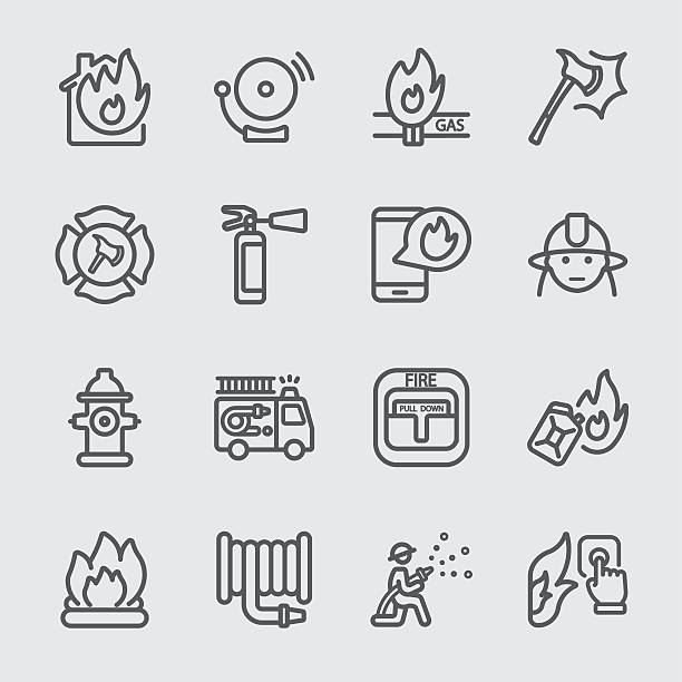 Fire department line icon Fire department line icon fire hose stock illustrations