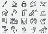 Fire Department Line Icons