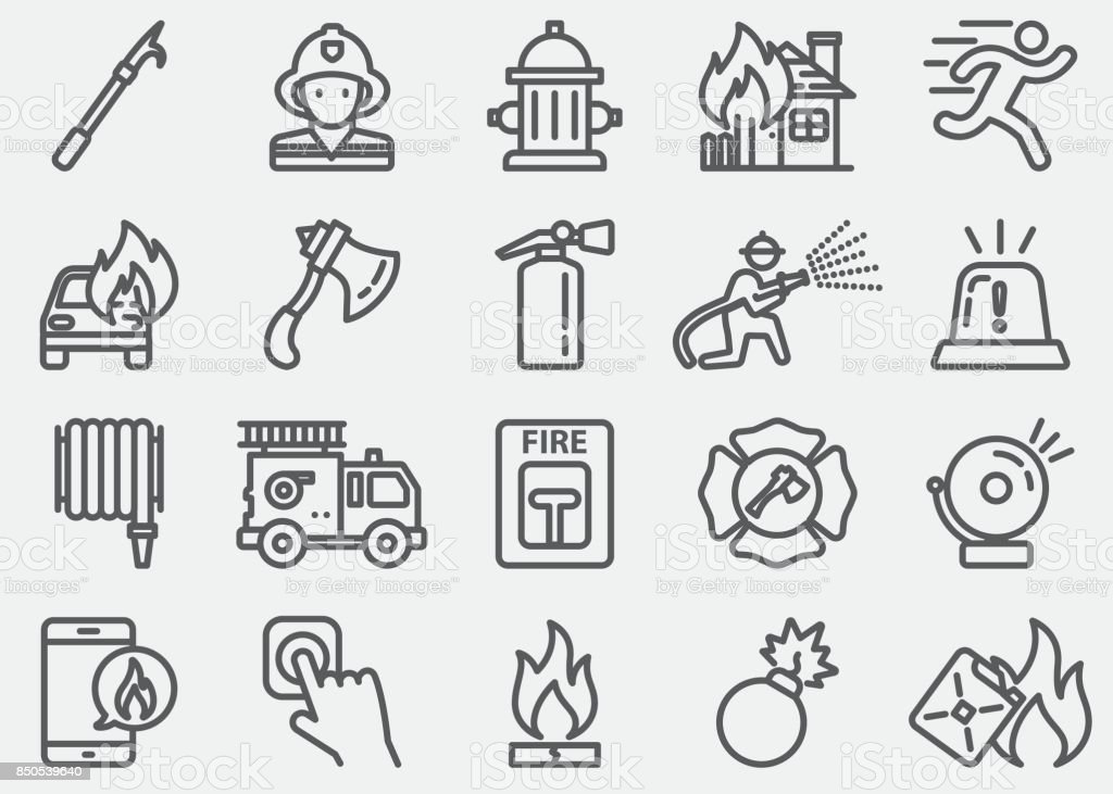 Fire Department Line Icons vector art illustration