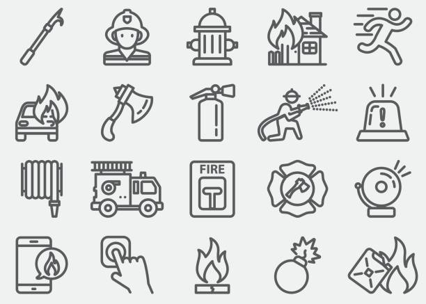 Fire Department Line Icons Fire Department Line Icons fire hose stock illustrations