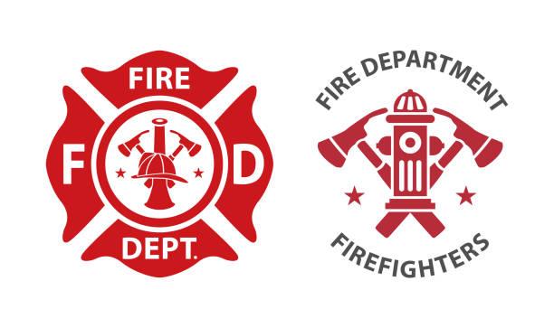 logo straży pożarnej - insygnia stock illustrations