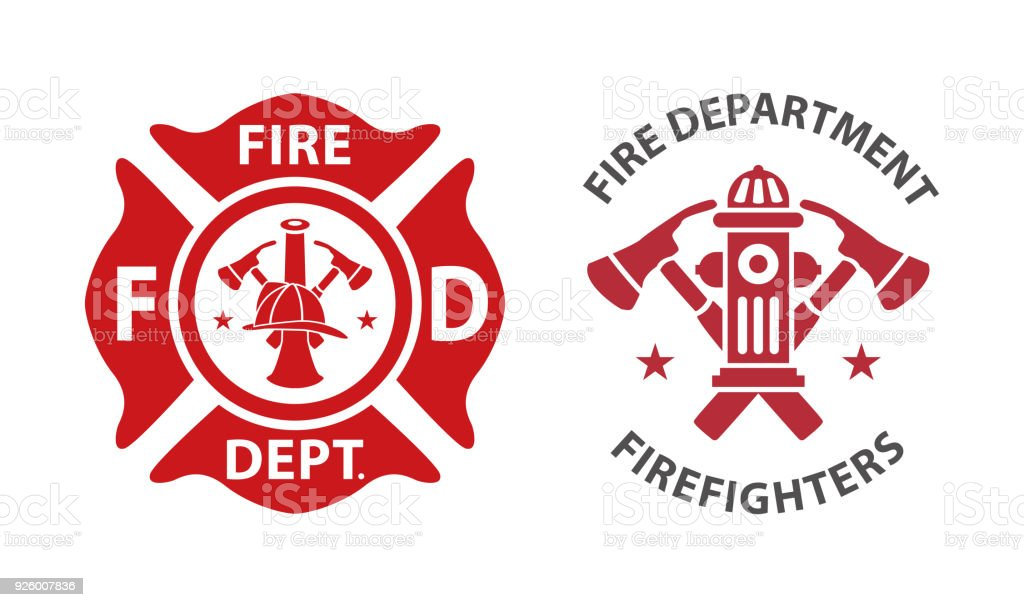 Fire department logo vector art illustration