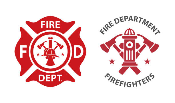 stockillustraties, clipart, cartoons en iconen met brandweer logo - red