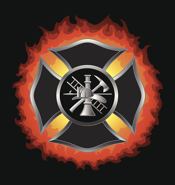 Fire Department Maltese Cross With Flames Fire Department or Firefighter's  Maltese Cross Symbol in silver with flaming background illustration. maltese cross stock illustrations
