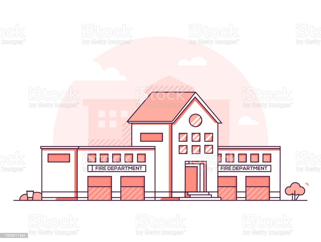 Fire department modern thin line design style vector illustration royalty free fire department modern