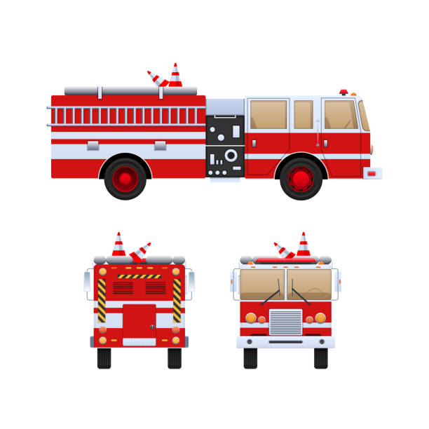 Fire Department. Red truck with white stripes, eliminating fire Fire Department. Red truck with white stripes, eliminating fire and fire, help in putting out. The car is a fire truck. Front, side and rear view. Vector illustration in flat style. fire engine stock illustrations