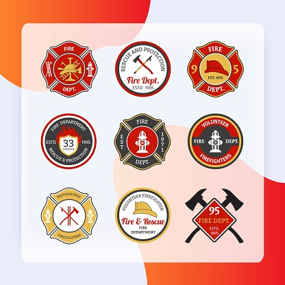 Fire department rescue and protection volunteers and professional firefighter emblems set isolated vector