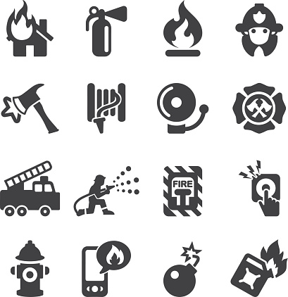Fire Department Silhouette Icons   EPS10