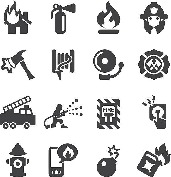 ilustraciones, imágenes clip art, dibujos animados e iconos de stock de departamento de bomberos de silueta iconos/eps10 - bombero