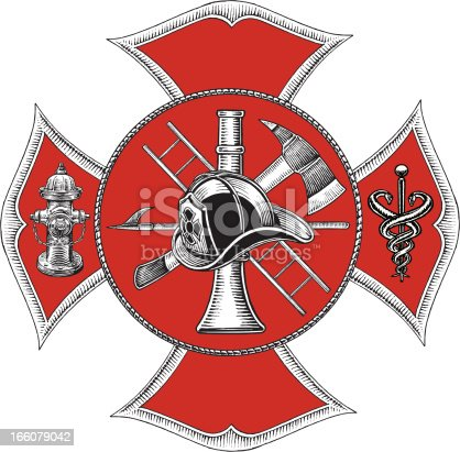 Fire Department Symbol . Pen and ink style illustration of a Fire Department Symbol - Retro Style. Check out my