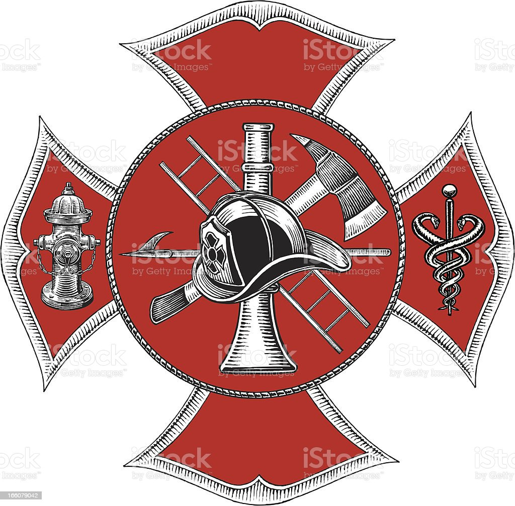 Fire Department Symbol - Retro Style vector art illustration